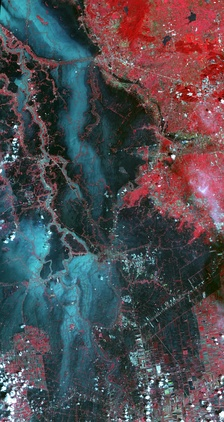 Satellite image of flooding in Thailand, Oct 2011 during the 2011 Thailand floods