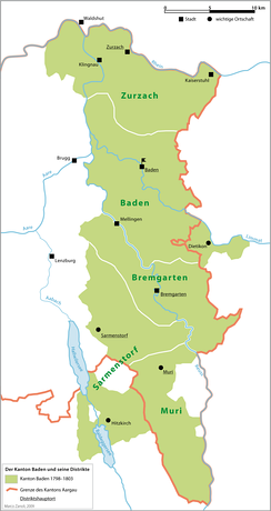 The former canton and its districts (shaded green) shown with the canton of Aargau (1803 — ).