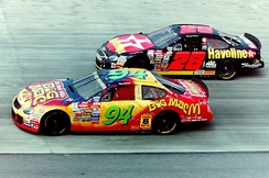 Kenny Irwin, Jr. (No. 28) racing Matt Kenseth (Filling in for Bill Elliott) at Dover, 1998