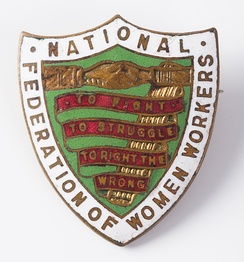 "Badge of the NFWW - ""To fight, to struggle, to right the wrong"""
