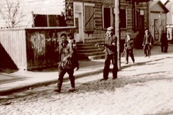 LAF activists leads the arrested Commissar of the Red Army in Kaunas. Lithuanian rebels have killed thousands of the Soviet occupants by suffering a low number of casualties.