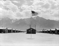 Dust storm at the Manzanar War Relocation Center