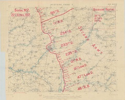 Map of German troop dispositions on the Siegfriedstellung in the Saint-Quentin area, 22 April 1917.