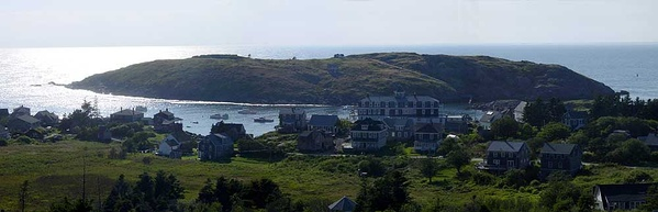 The village of Monhegan on Monhegan Island, with Manana Island in the background