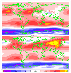 15-year average mean sea-level pressure for June, July, and August (top) and December, January, and February (bottom). ERA-15 re-analysis.
