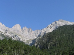 A view of Mount Olympus, the highest mountain in Greece and mythical abode of the Gods of Olympus