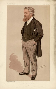 Drawing of a heavily bearded man, hands in pockets, wearing a black tailed coat, striped trousers, waistcoat and watch chain.