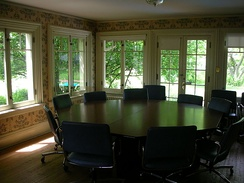 A classroom designed for dialogue at Shimer College