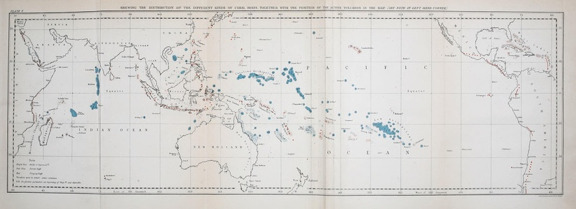 Map from Charles Darwin's 1842 The Structure and Distribution of Coral Reefs showing the world's major groups of atolls and coral reefs.