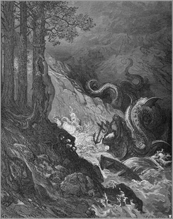 Gustave Doré's fantastic illustration of Orlando Furioso: defeating a sea monster