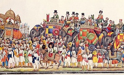 Panorama of a durbar procession of Mughal Emperor Akbar II, 1806-37. The Emperor is followed by the British Resident.