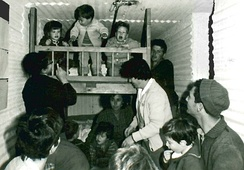 People in a bomb shelter at Kibbutz Dan