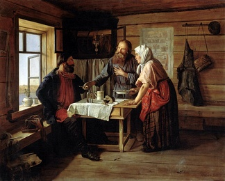 """Demyan's Fish Soup"", by Andrei Popov, 1857. The Russian Museum, St Petersburg"