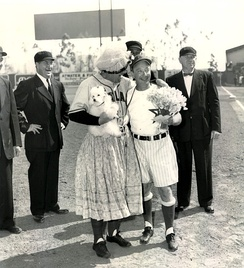 The Portland Beavers and Hollywood Stars managers before a game performing a comedy routine (Gilmore Field in the 1940s)