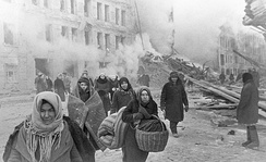 Citizens of Leningrad during the 872-day siege, in which more than one million civilians died, mostly from starvation.