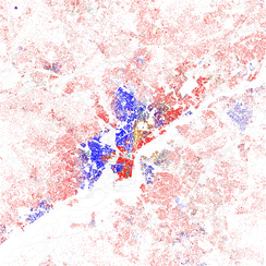 Map of racial distribution in Philadelphia, 2010 Census. Each dot is 25 people: White, Black, Asian, Hispanic, or Other.