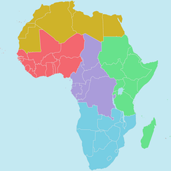 Regions of the African Union  Northern Region    (Sahara)   Southern Region    (Kalahari)   Eastern Region    (Nile)   Western Regions A and B    (Niger and Volta Niger)   Central Region  (Congo)