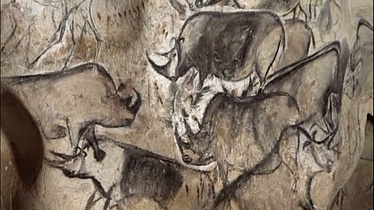 Prehistoric painting of rhinoceroses in the Chauvet Cave, dated circa 35,000 BP. France