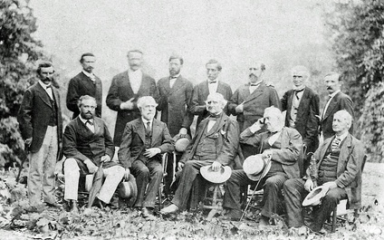 Wise (top row, second from right) with Robert E. Lee and Confederate officers, cq1869.