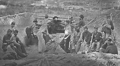 Union troops of the 1st New York Volunteer Engineer Regiment digging a sap with a sap roller on Morris Island, 1863