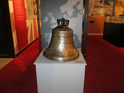New Zealand's bell on display at the Torpedo Bay Navy Museum. This bell was also installed on the battlecruiser of the same name.