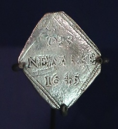 A lozenge-shaped shilling minted at Newark during the 1646 siege.