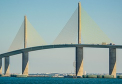 The Sunshine Skyway Bridge over Tampa Bay is a part of Florida's interstate system.