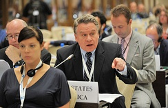 U.S. Congressman Chris Smith presents resolution at OSCE Parliamentary Assembly as Special Representative on Human Trafficking Issues