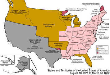 The states and territories of the United States as a result of Missouri's admission as a state on August 10, 1821. The remainder of the former Missouri Territory became unorganized territory.