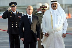 Sheikh Hamad with the Russian president Vladimir Putin