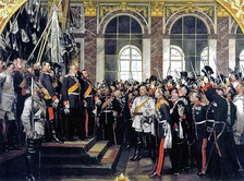 On 18 January 1871, the German Empire was proclaimed in the Hall of Mirrors of the Palace of Versailles. Bismarck in the center in white.