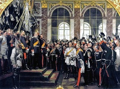 William I is proclaimed German Emperor in the Hall of Mirrors in Versailles, France (painting by Anton von Werner).