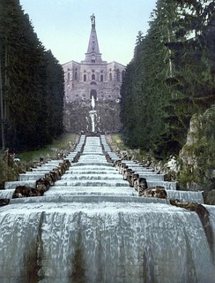 Herkules Monument and water running down the cascades during the water features in the Bergpark of the Wilhelmshöhe Palace