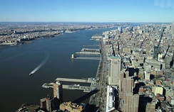 The river between Hudson Waterfront in New Jersey (left) and Manhattan (right)