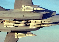 F-14B from the VF-211 Fighting Checkmates carrying a full load of six AIM-54 Phoenix missiles.
