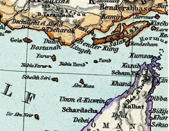 A map by Adolf Stieler showing Abu Musa and Greater and Lesser Tunbs.