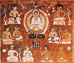 Amitābha in his Western Paradise with Indians, Tibetans, and Central Asians, with two symbols of Manichaeism: Sun and Cross.