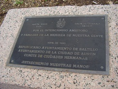 Sister city monument in Austin commemorating the relationship with Saltillo