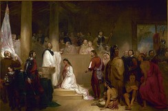 Baptism of Pocahontas was painted in 1840. John Gadsby Chapman depicts Pocahontas, wearing white, being baptized Rebecca by Anglican minister Alexander Whiteaker (left) in Jamestown, Virginia; this event is believed to have taken place either in 1613 or 1614.