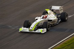 Button's teammate Rubens Barrichello, seen driving the Brawn BGP 001 at Barcelona, finished third in the Championship
