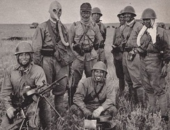 Japanese soldiers pose with captured Soviet equipment during the Battle of Khalkhin Gol.