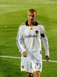 Beckham playing for LA Galaxy in March 2008