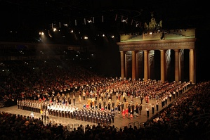 A massed group of military bands from several countries, at the 2011 Berlin Military Tattoo