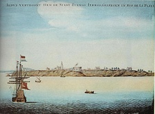 Aldus verthoont hem de stadt Buenos Ayrros geleegen in Rio de la Plata, painting by a Dutch sailor who anchored at the port around 1628.