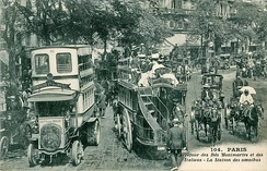 Left, double-decker bus Schneider Brillié P2; Center, double decker horse-drawn omnibus in Paris, France.