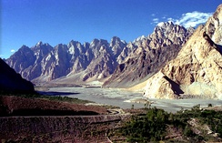 KKH passing through Passu in Pakistan.