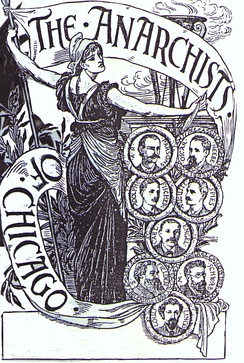 A sympathetic engraving by Walter Crane of the executed anarchists of Chicago after the Haymarket affair. It is generally considered the most significant event for the origin of international May Day observances