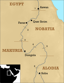 The three Christian Nubian kingdoms. The northern border of Alodia is unclear, but it also might have been located further north, between the fourth and fifth Nile cataract.[25]