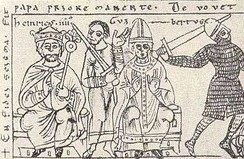 Contemporary illustration of Henry IV (left) and Anti-pope Clement III (centre).