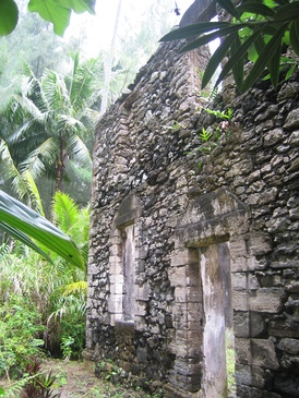 Ruins of the Re'e Seminary College on Aukena, one of the earliest institution of higher learning in French Polynesia, where Joseph Gregorio II received his education